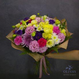осенний букет с эустомой и хризантемой