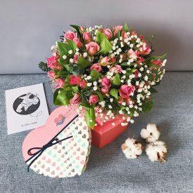 милая коробочка-сердце с розами