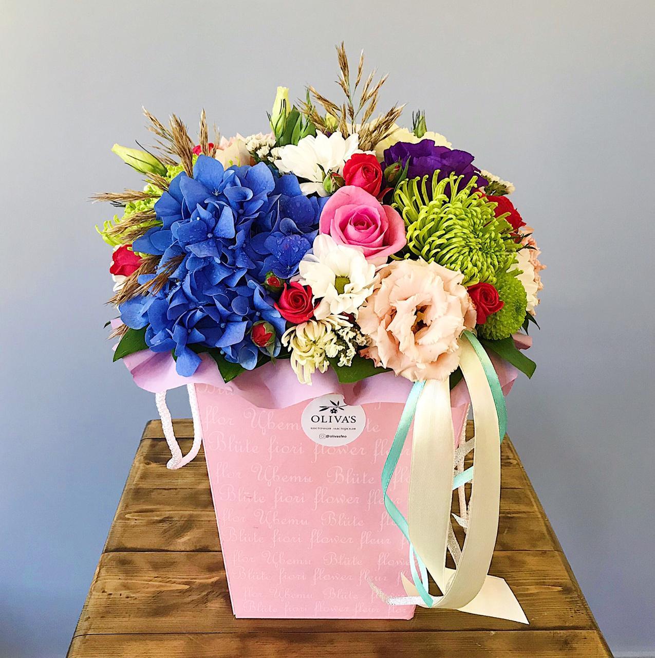 Шикарная осенняя коробочка цветочный микс