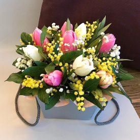 весенняя коробочка с тюльпанами