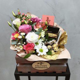 цветочной подарок с кофе